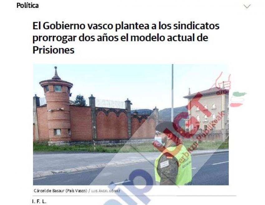 El Gobierno vasco plantea a los sindicatos prorrogar dos años el modelo actual de Prisiones
