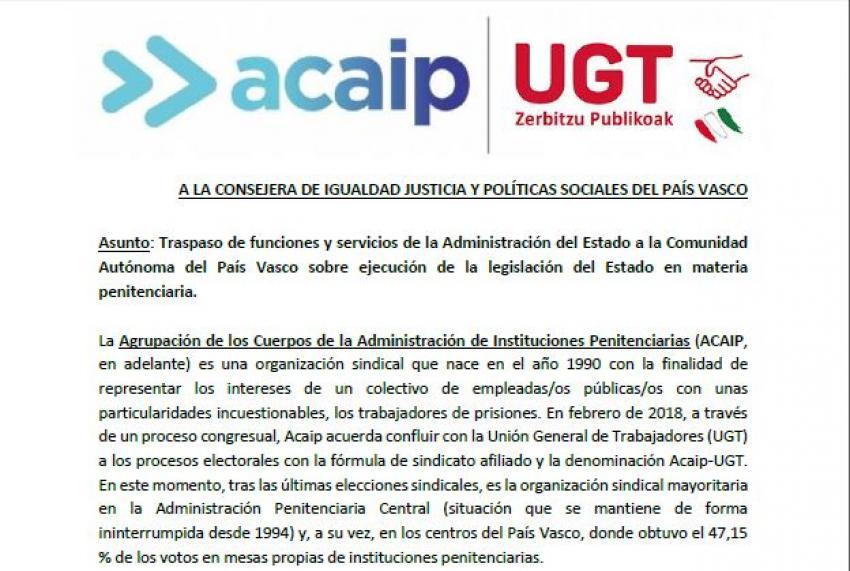 Propuesta de Acaip-Ugt sobre transferencia prisiones