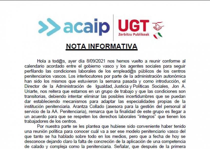 Nota informativa reunión Gobierno Vasco (08/09/21)
