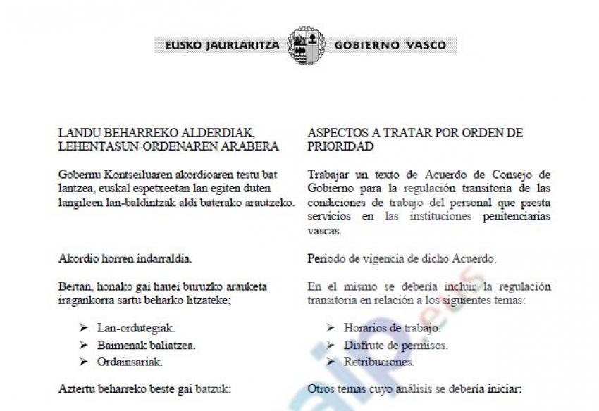 Convocatoria reunión con Gobierno vasco